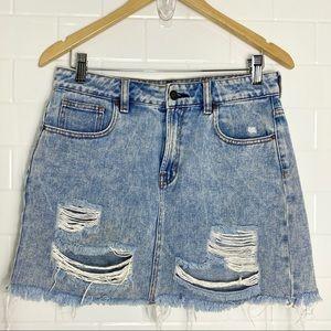 PACSUN Light Blue Wash Distressed Denim Skirt
